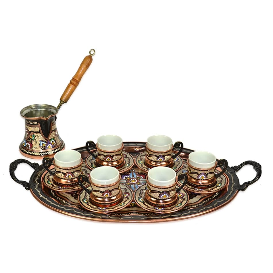TURKISH COFFEE SERVING SET FOR 6 - COFFEE POT,CUPS,TRAY